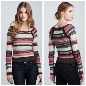 FREE PEOPLE Twinkle Stars Brown Stripe Sweater LG